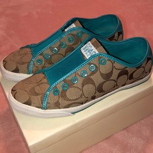 COACH Signature Khaki & Teal Slip-On Sneakers